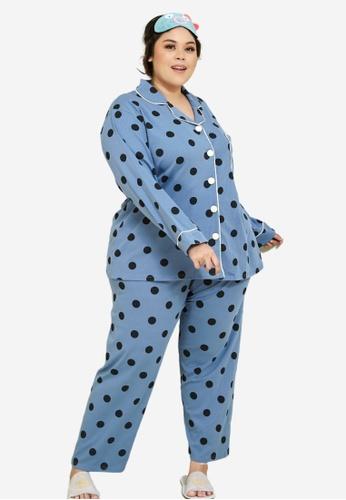 CURVA FABULOUS blue Premium Cotton Polka Dotted Pyjamas DF08BAAA30B2BDGS_1
