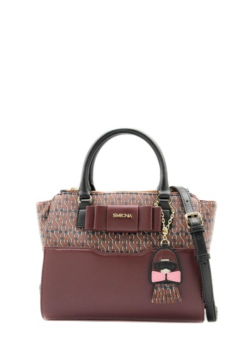 SEMBONIA red SEMBONIA Coated Canvas Trimmed Leather Satchel Bag (Maroon) SE598AC0S8OXMY_1