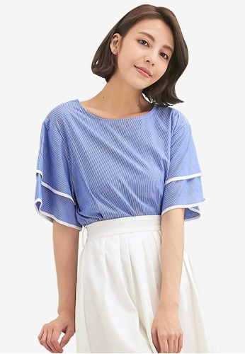 Kodz navy Striped Tie-Front Blouse 01397AA4A50E04GS_1
