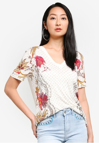Desigual white Floral Printed Short Sleeves T-shirt 2DDC0AAFF6319FGS_1