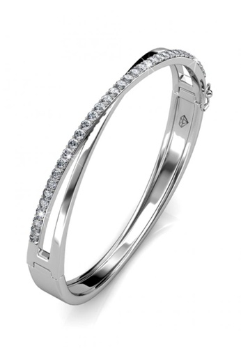 Her Jewellery silver Swarovski® Crystals - Criss Bangle (18K White Gold Plated) Her Jewellery HE581AC0RCCNMY_1