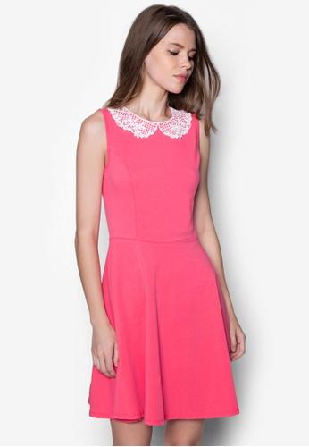 Dorothy Perkins pink Watermelon Lace Collar Dress DO016AA06MEJSG_1