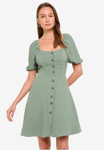 Trendyol green Sage Puff Sleeve Button Mini Dress DA5D0AA819AECDGS_1