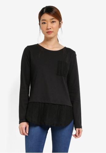 UniqTee black Long Sleeve Lace Hem Top UN097AA0SHDFMY_1