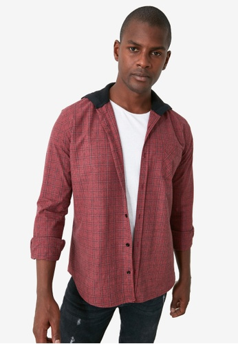 Trendyol red Hooded Plaid Knit Shirt 2DD2CAAEB7309EGS_1