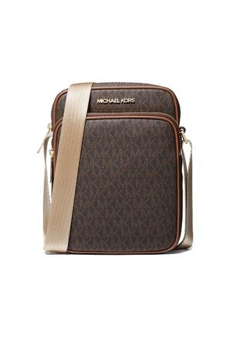 MICHAEL KORS brown Michael Kors Jet Set Travel Medium Logo Crossbody Bag Brown 35H9GTVC1B A2569ACC15D70CGS_1