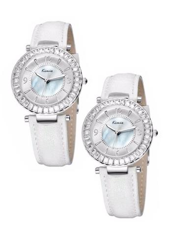 Eyki white Bundle 2 Units Eyki Kimio KW501M Silver Ladies White Leather Watch EY078AC0RRKCMY_1