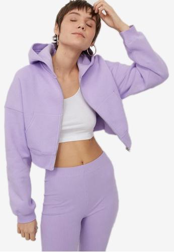 H&M purple Cropped Zip-Through Hoodie 1CC8CAAFBE90FDGS_1