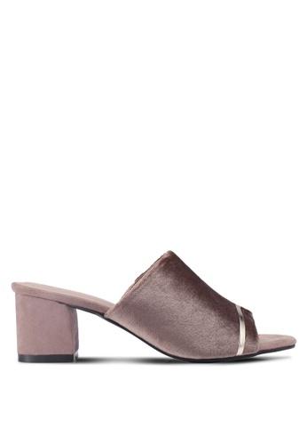 Bata 褐色 綢緞粗跟穆勒鞋 3A65DSHFAC9F7CGS_1