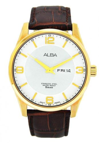 Alba white and brown and gold Men's Analogue Quartz Watch AL594AC84CFBSG_1