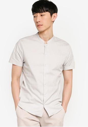 ZALORA BASICS grey Mandarin Collar Shirt CB2A4AAAC60E44GS_1