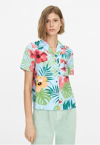Pomelo blue Tropical Print Buttoned Shirt - Blue A18F6AAC499948GS_1