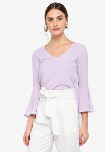 FORCAST purple Paola Fluted Sleeve Top D86CEAA19C0E33GS_1