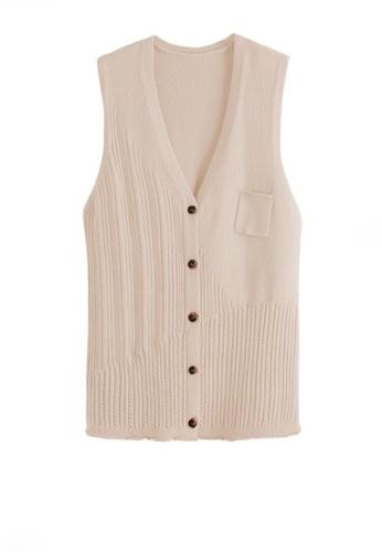 Twenty Eight Shoes white VANSA Knitted Vest Jacket  VCW-V3215558 DCE09AA4DAF9D2GS_1