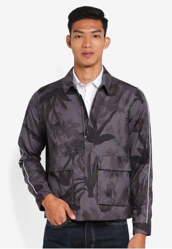 Topman grey Black/Grey Floral Zip Through Jacket BCD62AA5F5D4FBGS_1