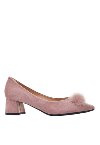 Twenty Eight Shoes pink Fur Bow Block Heel 999-31 CA588SH72DFF73GS_1