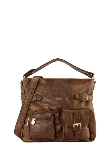 SEMBONIA brown SEMBONIA Synthetic Leather Hobo Bag F08EEACD1D2DC3GS_1