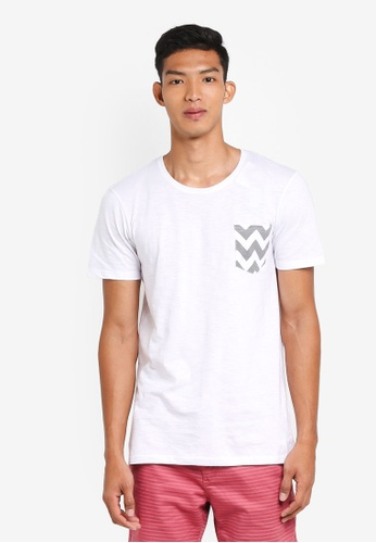 Cotton On 白色 休閒條紋口袋T恤 E6564AAC2CAE9CGS_1