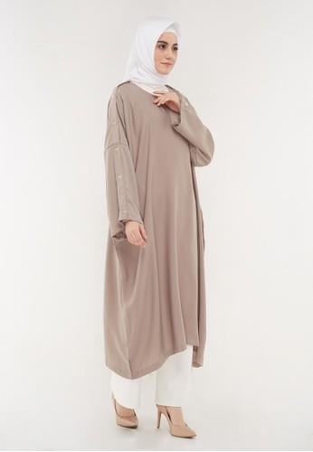 Hanalila Daily Hijab brown Malika Dress In Mocca 01582AAC2B923AGS_1