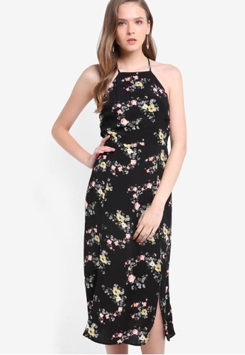 TOPSHOP black Floral Square Neck Midi Dress TO412AA56JGHMY_1