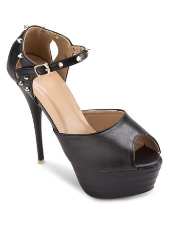 鉚釘露趾厚底細高跟鞋, 女鞋,esprit 童裝 魚口鞋