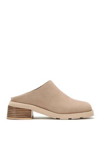 RABEANCO 米褐色 RABEANCO BERMUDA 中跟拖鞋靴 - 絨面杏色 56864SH6A8FF98GS_1