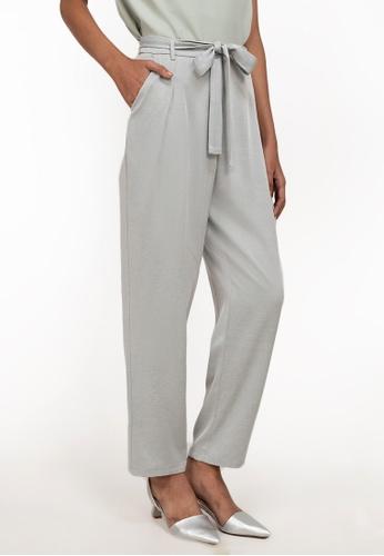 ZALORA WORK grey Pleat Belted Pants 07076AA400CA9BGS_1