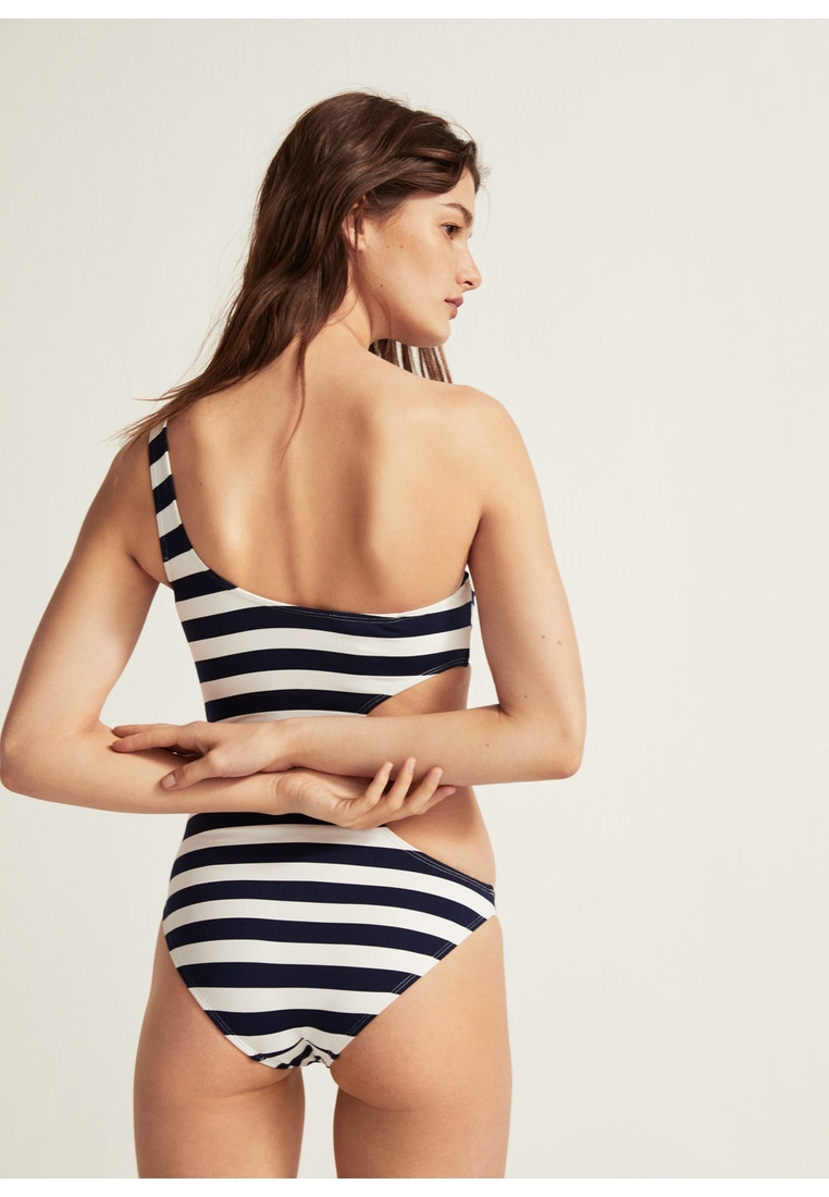Mango Assymetric Navy Nautical Swimsuit Mango Nautical zRFPwqB