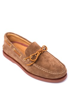 Gold A/O 1-Eye Suede Boat Shoes