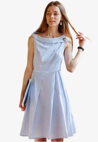 Hopeshow blue Wide Neck Dress 457C7AA696A1EBGS_1