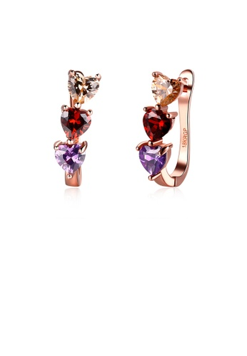 Glamorousky silver Fashion Plated Romantic Rose Gold Tricolor Heart Shaped Cubic Zircon Stud Earrings 37616AC450A8A7GS_1
