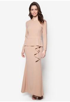 Ruffle Peplum Maxi Dress - Vercato Vanesa