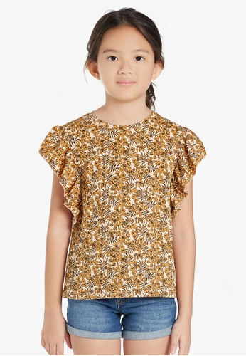 Gen Woo brown Floral Ruffle T-Shirt By Gen Woo 82317KAEE3DB16GS_1