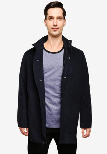 BLEND navy High Collar Coat F9013AA4D45948GS_1