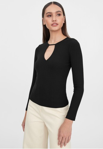 Pomelo black Keyhole Neck Fitted Long Sleeve Top - Black FE2B7AA6CADD31GS_1