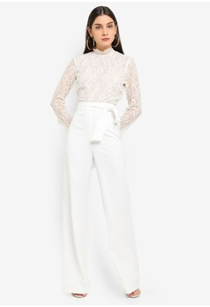 c520f59f47d MISSGUIDED white Lace Top Belted Jumpsuit 615C3AA6346BC9GS 1
