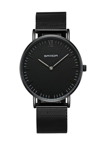 SANDA black SANDA 208 Luxury Ultra Thin Stainless Steel Quartz Men Watch (Full Black) 80AAFAC848C6D4GS_1