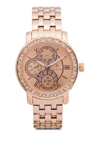 Titan  9743WM01 多esprit 手錶功能水鑽不銹鋼圓錶, 錶類, 時尚型