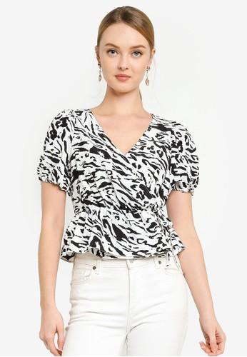 Miss Selfridge black White Zebra Print Wrap Blouse DCB82AA8F94195GS_1