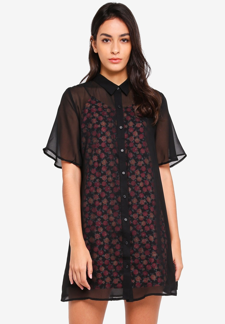 In Overlay Black 2 Print 1 Black Borrowed Dress Something Base Chiffon Shirt Oddq7fcFR