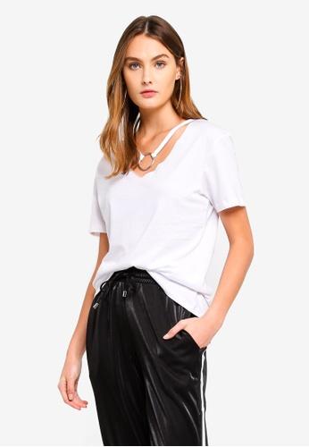 Brave Soul white V Neck T-Shirt With Ring Detail CEB7DAAE3D3D3DGS_1