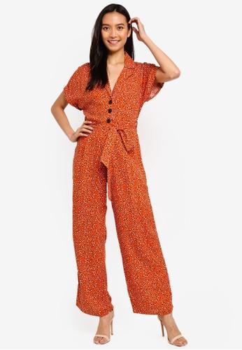 ddfdc46579a Buy Miss Selfridge Petite Rust Animal Print Utility Jumpsuit Online on  ZALORA Singapore