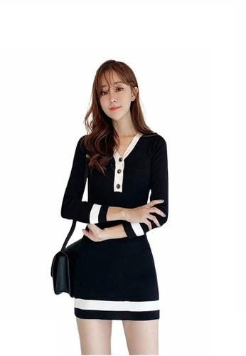 Crystal Korea Fashion black Temperament V-neck slim slim knit dress F6BC4AACB2686AGS_1