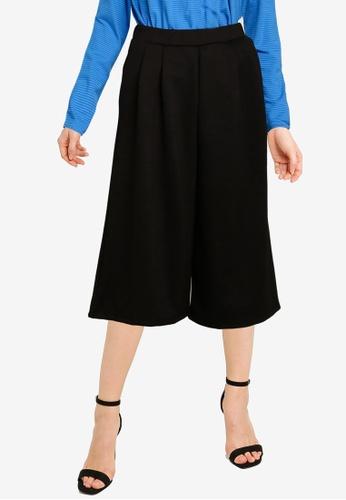 UniqTee black Centre Pleated Wide Leg Pants 5FA63AAAA3ED36GS_1