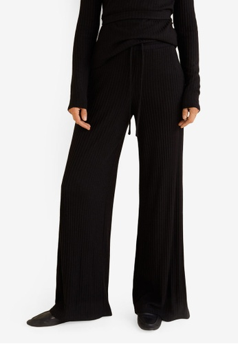 Mango black Ribbed Trousers DC806AA409F007GS_1