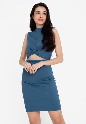 ZALORA BASICS blue Front Gathered Dress 0399AAA05652A7GS_1
