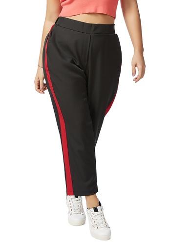London Rag 黑色 黑色撞红色侧条长裤 54677AA4C1D3AEGS_1