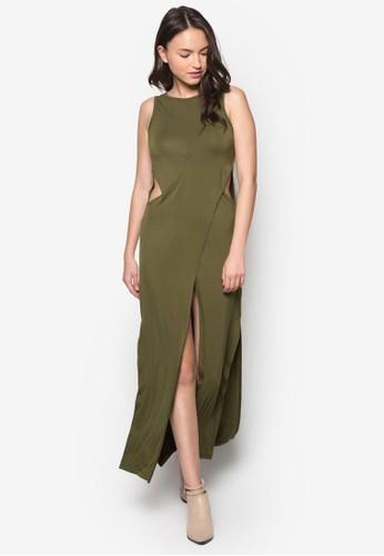 裹式zalora 評價無袖連身長裙, 服飾, 長洋裝
