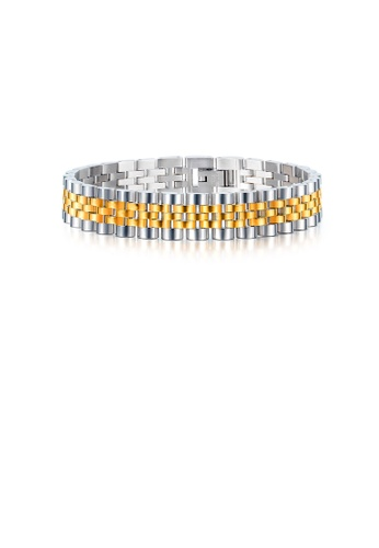 Glamorousky silver Fashion Personality Silver and Gold Geometric Chain 316L Stainless Steel Bracelet 3F975AC241C8FFGS_1