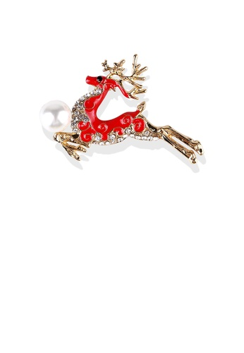 Glamorousky white Fashion and Simple Plated Gold Enamel Red Sika Deer Imitation Pearl Brooch with Cubic Zirconia DB683AC1A88605GS_1